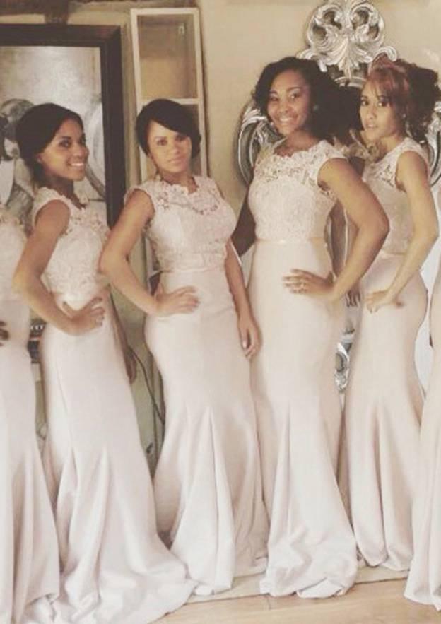 3edd0e91b5 Sheath/Column Sleeveless Scoop Neck Sweep Train Satin Bridesmaid Dress With  Lace