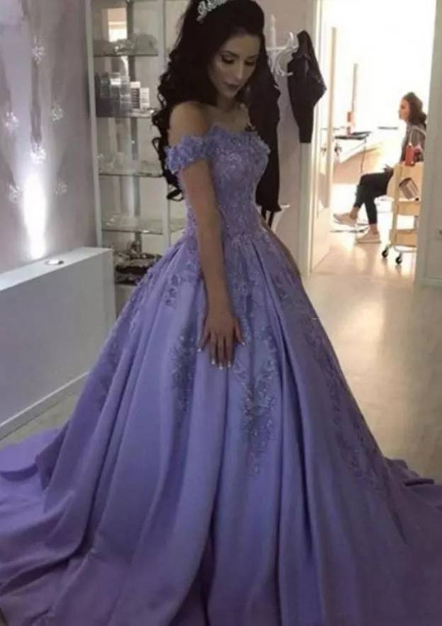 97a70c3c951 Ball Gown Off-the-Shoulder Sleeveless Sweep Train Satin Prom Dress With  Appliqued Beading