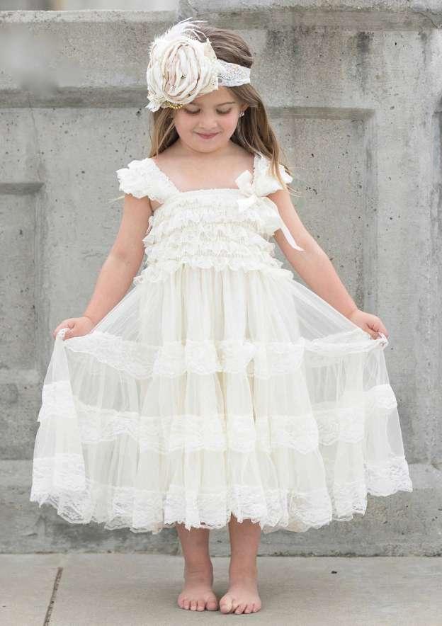 cb002ca7fa7 Lace Flower Girl Dress A-Line Princess Square Neckline Ankle-Length With  Appliqued