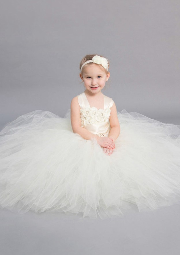a31e512ef A-Line/Princess Sleeveless Square Neckline Ankle-Length Tulle Flower Girl  Dress With Appliqued