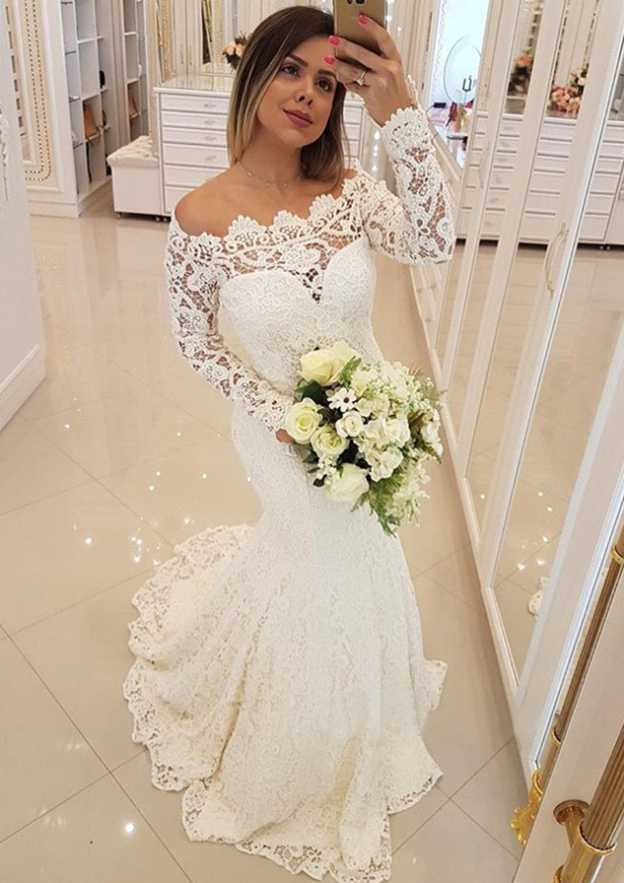 f3ef0a0ebd6 Trumpet Mermaid Off-the-Shoulder Full Long Sleeve Sweep Train Lace Wedding  Dress