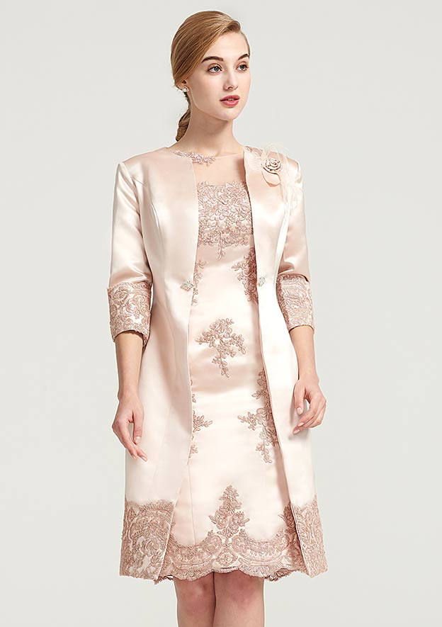 25f7aa432f4c Sheath Column Bateau Sleeveless Knee-Length Satin Mother of the Bride Dress  With Shoulder Flower Appliqued