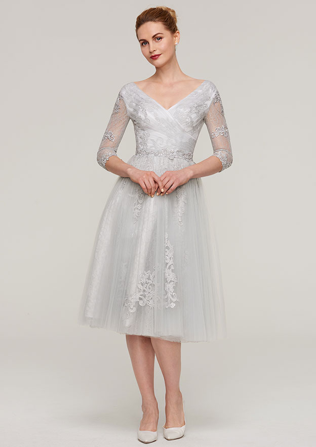7d44a5616fed8 A-line/Princess V Neck 3/4 Sleeve Tea-Length Tulle Mother of the Bride  Dress With Waistband Appliqued Lace