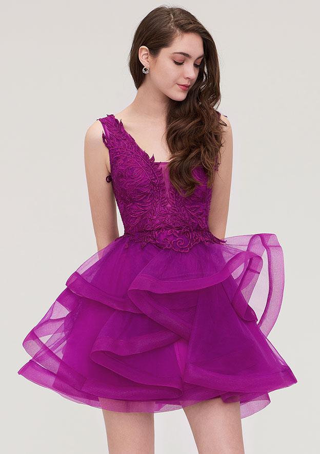 f5b9142f5fc3 A-line/Princess V Neck Sleeveless Short/Mini Organza Homecoming Dress With  Appliqued