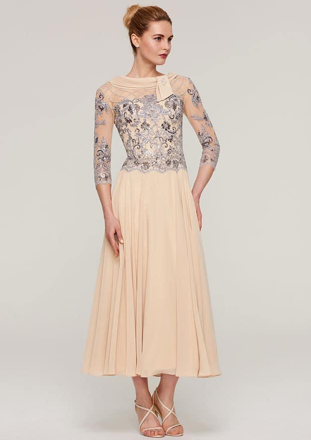 3d4f175567d Chiffon Mother of the Bride Dress A-line Princess Bateau 3 4 Sleeve Tea- Length With Sequins Beading Lace