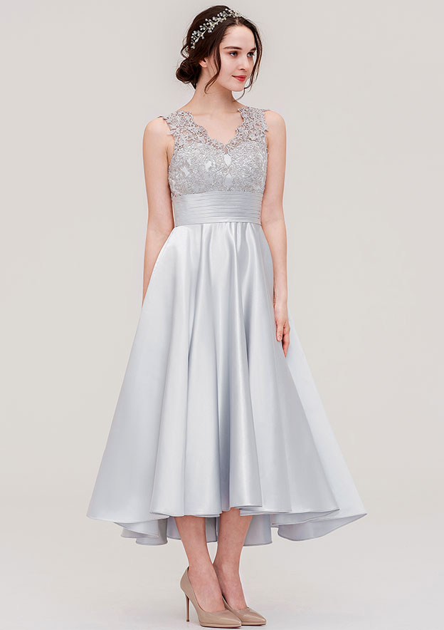 04b3fc70722 Satin Bridesmaid Dress A-line Princess V Neck Sleeveless Ankle-Length With  Pleated Lace